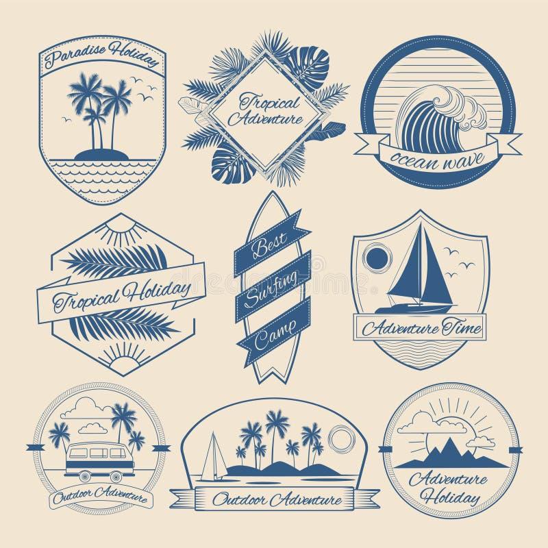 Комплект винтажных внешних значков приключения иллюстрация вектора