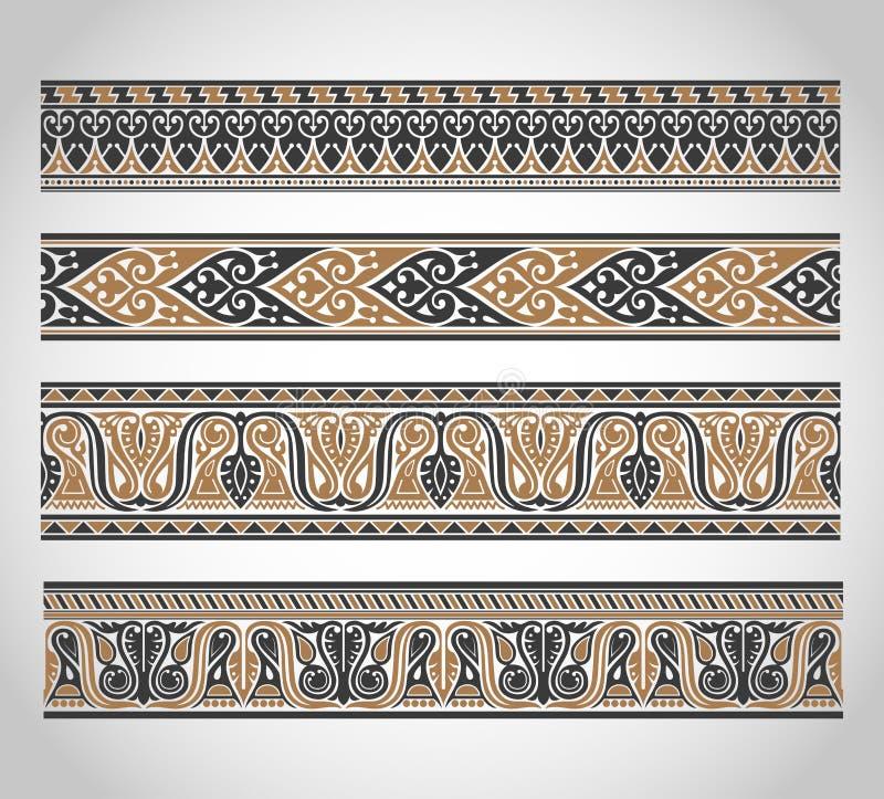 Комплект винтажных границ иллюстрация штока