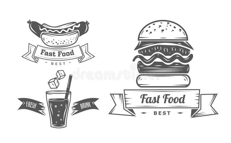 Комплект винтажных знаков ресторана фаст-фуда, панель иллюстрация вектора