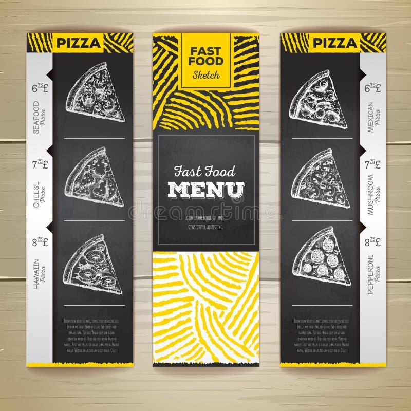 Комплект винтажных знамен меню фаст-фуда чертежа мела Пицца иллюстрация вектора
