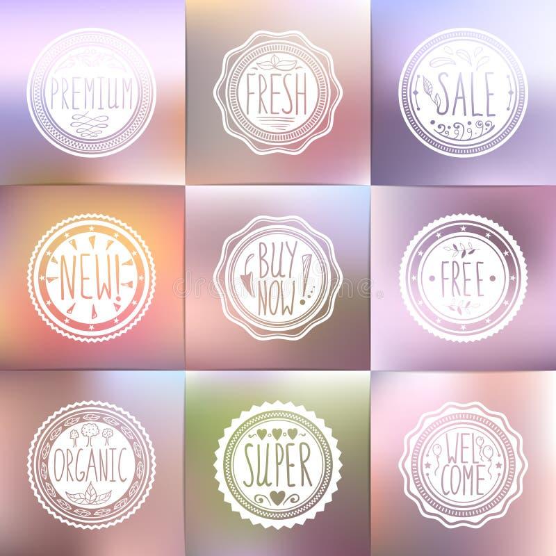 Комплект винтажных значков и запачканных предпосылок Нарисованная вручную литерность иллюстрация штока
