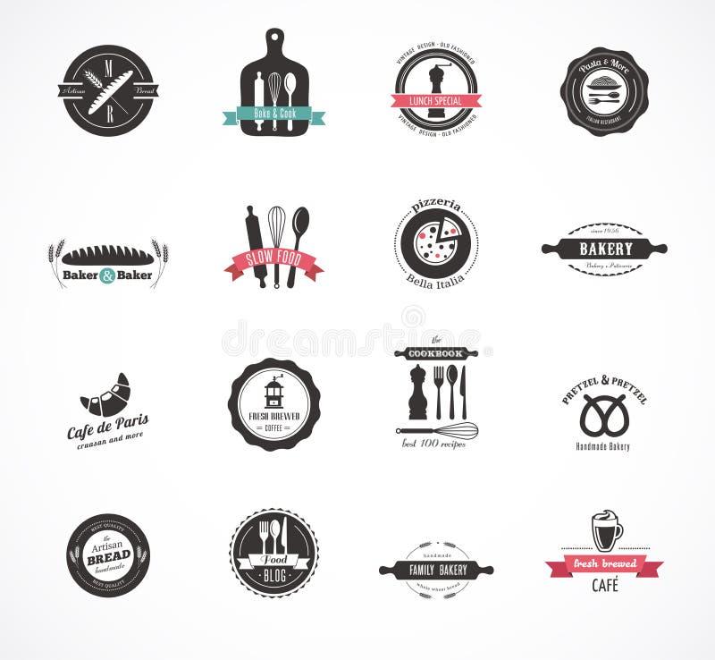 Комплект винтажных значков ресторана и еды, ярлыков иллюстрация штока