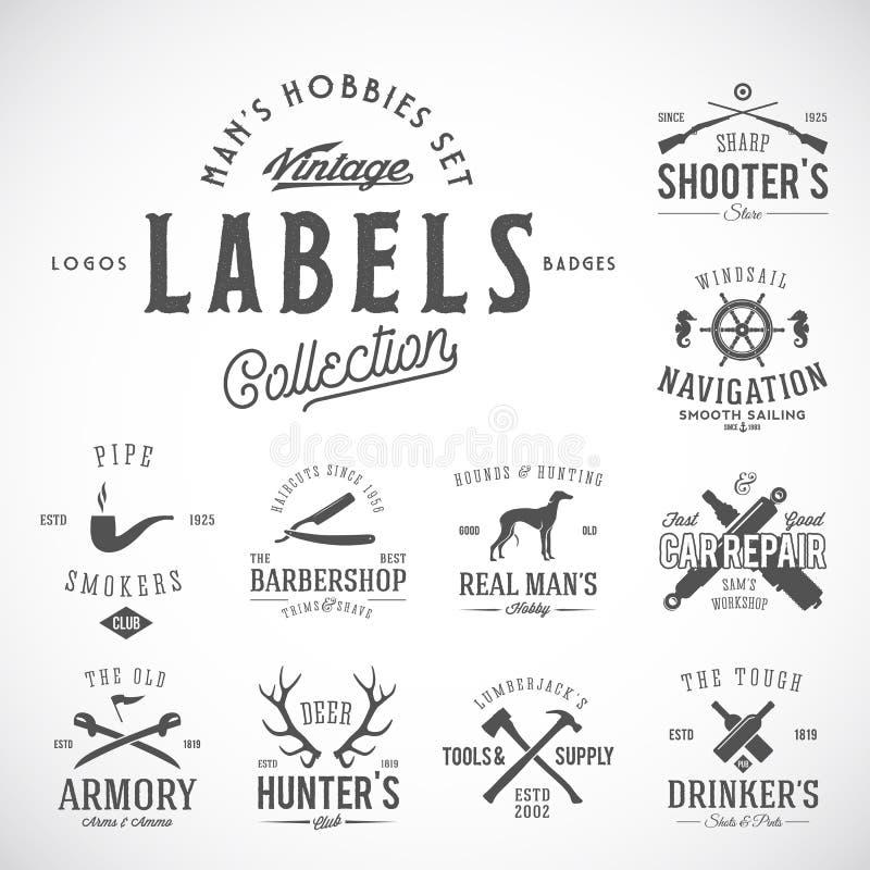 Комплект винтажных значков, ярлыков или шаблонов логотипа при ретро оформление для хобби людей как плавать, охотясь, оружия бесплатная иллюстрация