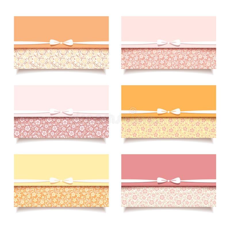 Комплект 6 винтажных карточек посещения с флористическими картинами. иллюстрация штока