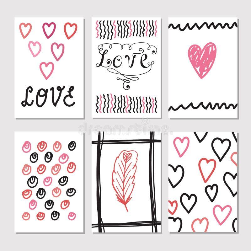 Комплект винтажных карточек с романтичной текстурами нарисованными рукой творческо иллюстрация штока