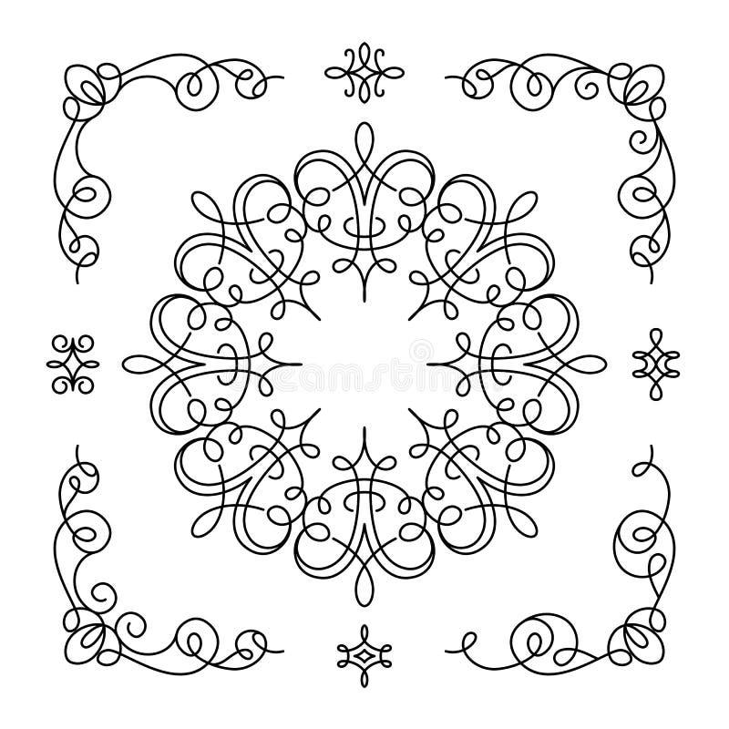 Комплект винтажных каллиграфических углов и виньеток бесплатная иллюстрация