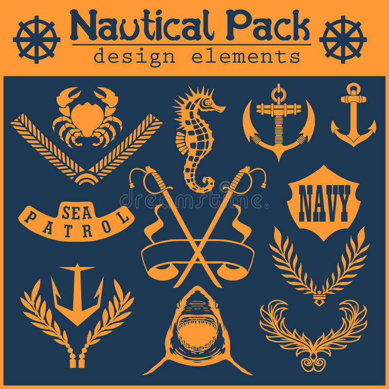 Комплект винтажных морских ярлыков, значков и элементов дизайна иллюстрация вектора