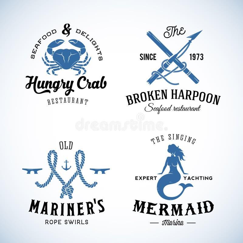 Комплект винтажных морских ярлыков моря с ретро иллюстрация штока