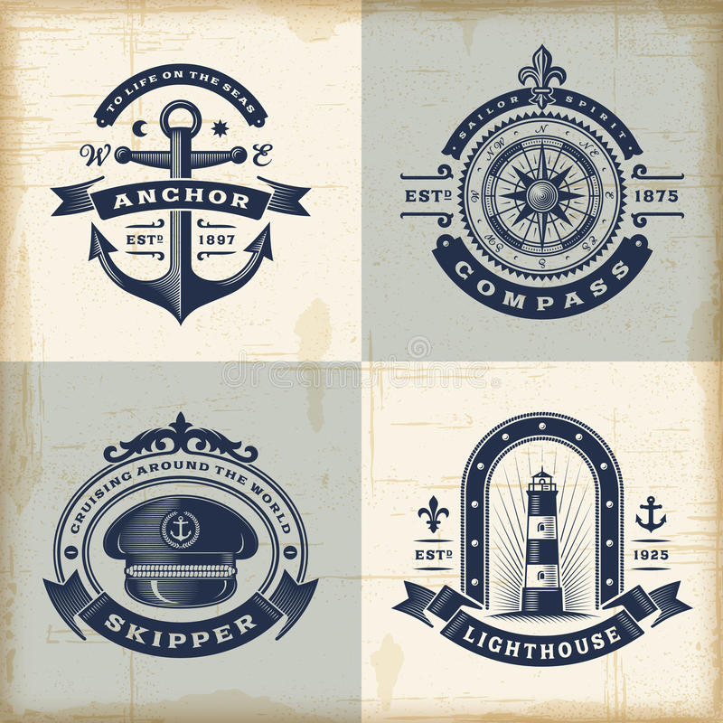 Комплект винтажных морских ярлыков бесплатная иллюстрация