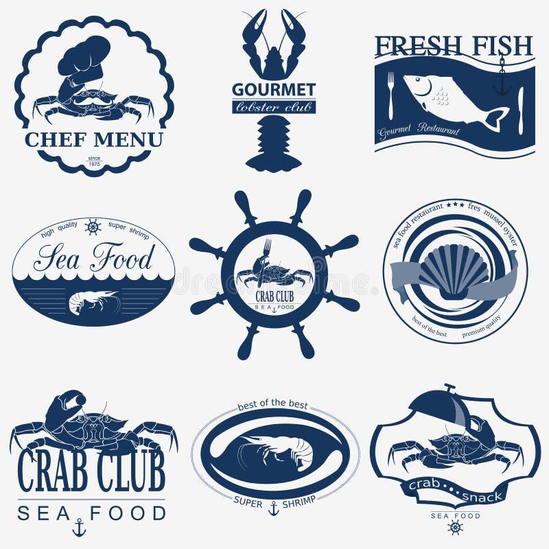 Комплект винтажных логотипов продукта моря иллюстрация штока