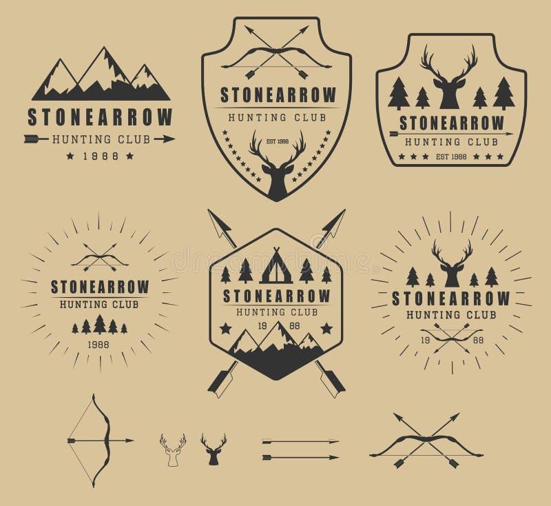 Комплект винтажных логотипов, ярлыков, значков и элементов звероловства иллюстрация штока