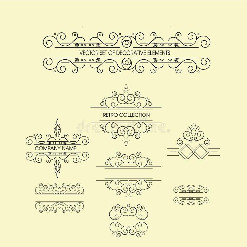 Комплект винтажных орнаментов для приглашения, поздравительная открытка поздравлению и стоковые изображения
