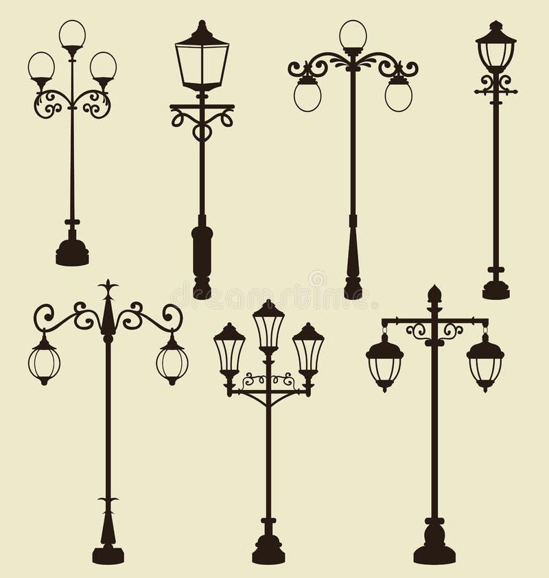 Комплект винтажных различных орнаментальных уличных фонарей иллюстрация вектора