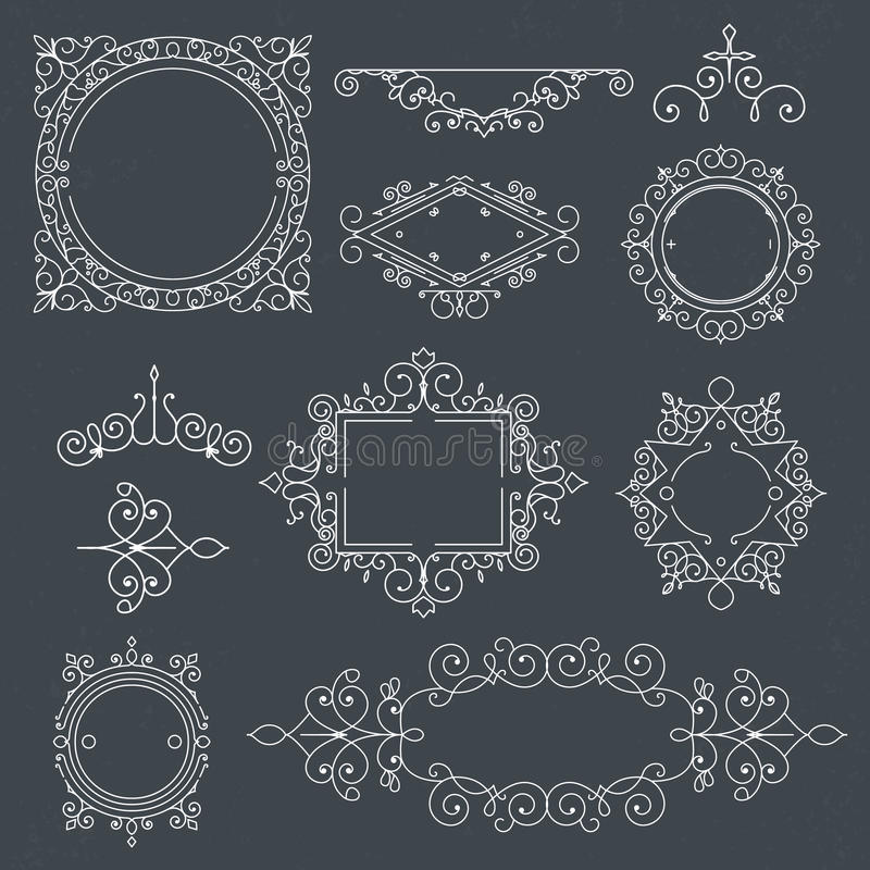 Комплект винтажных рамок для роскошных логотипов для кафа, магазина, магазина, re бесплатная иллюстрация