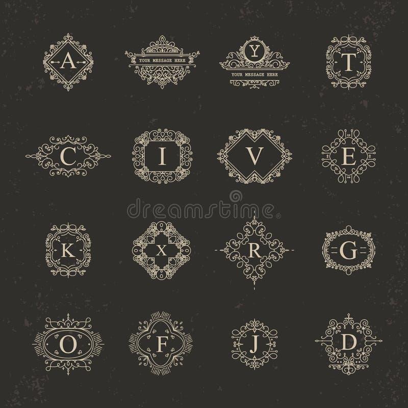 Комплект винтажных рамок для роскошных логотипов для кафа, магазина, магазина, re иллюстрация вектора