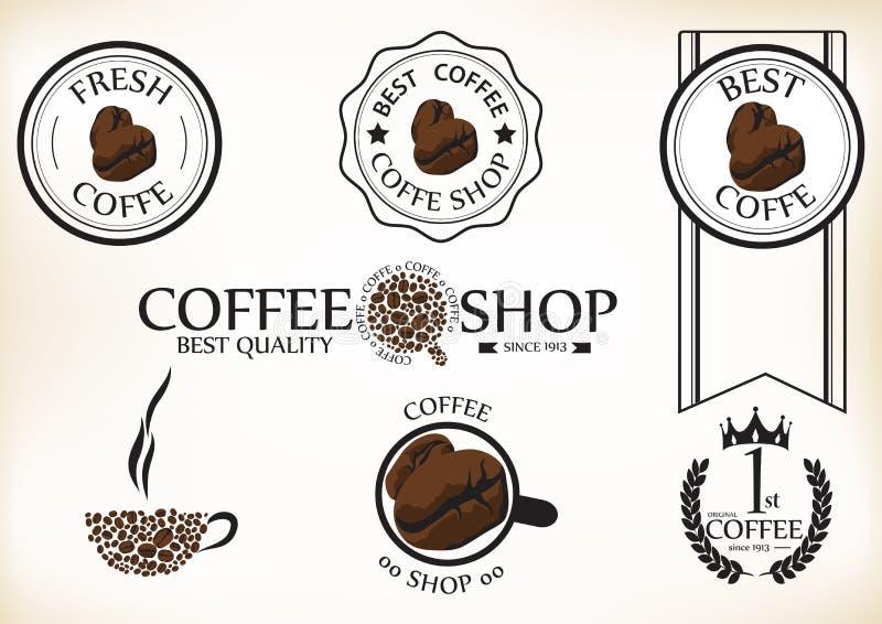 Комплект винтажных ретро значков и ярлыков кофейни бесплатная иллюстрация