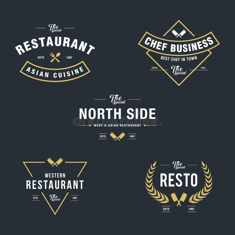 Комплект винтажных ретро значков и ярлыков ресторана иллюстрация штока