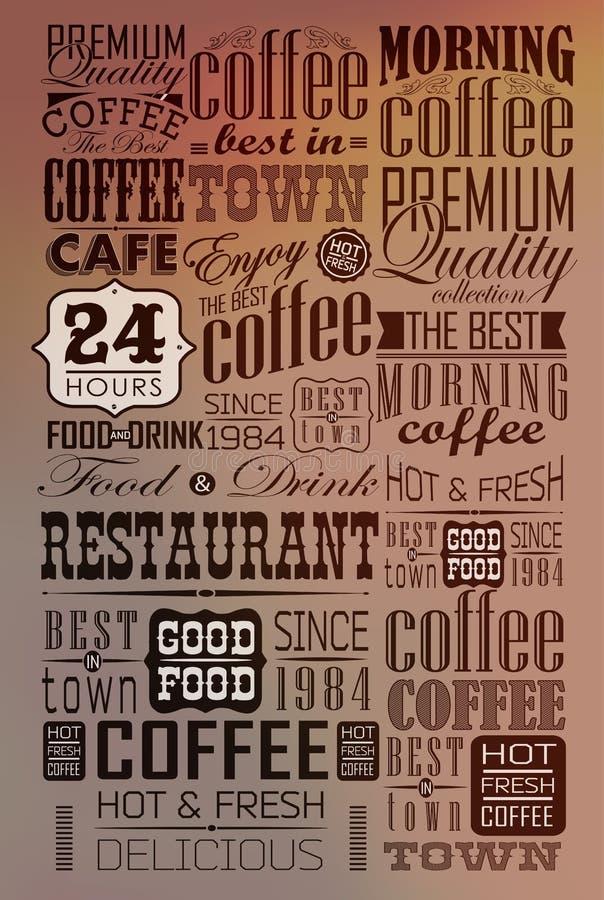 Комплект винтажных ретро ярлыков кофе иллюстрация вектора