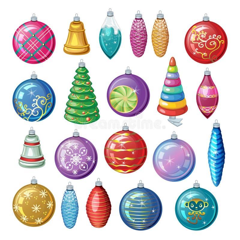 Комплект винтажных украшений рождества, шариков вектора и игрушек иллюстрация вектора