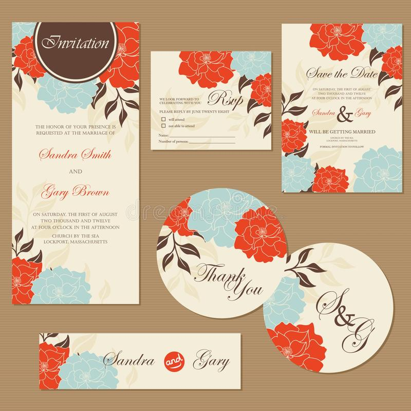 Комплект винтажных флористических карточек приглашения свадьбы иллюстрация вектора
