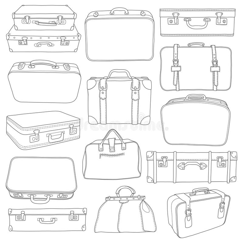 Комплект винтажных чемоданов - для дизайна в векторе бесплатная иллюстрация