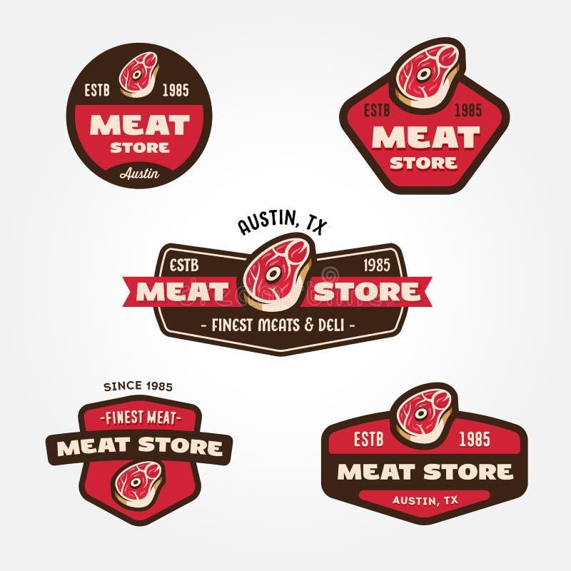 Комплект винтажных шаблонов логотипа мясного рынка бесплатная иллюстрация