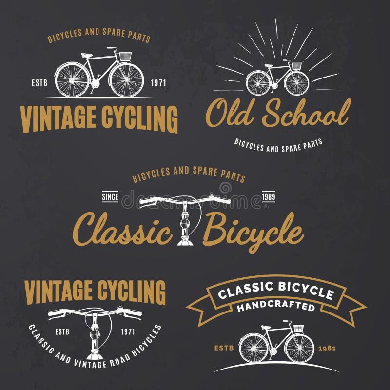 Комплект винтажных эмблем велосипеда дороги бесплатная иллюстрация