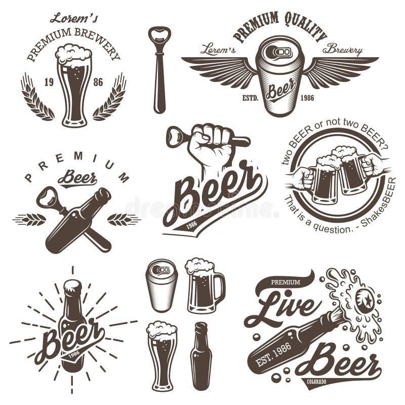Комплект винтажных эмблем винзавода пива бесплатная иллюстрация