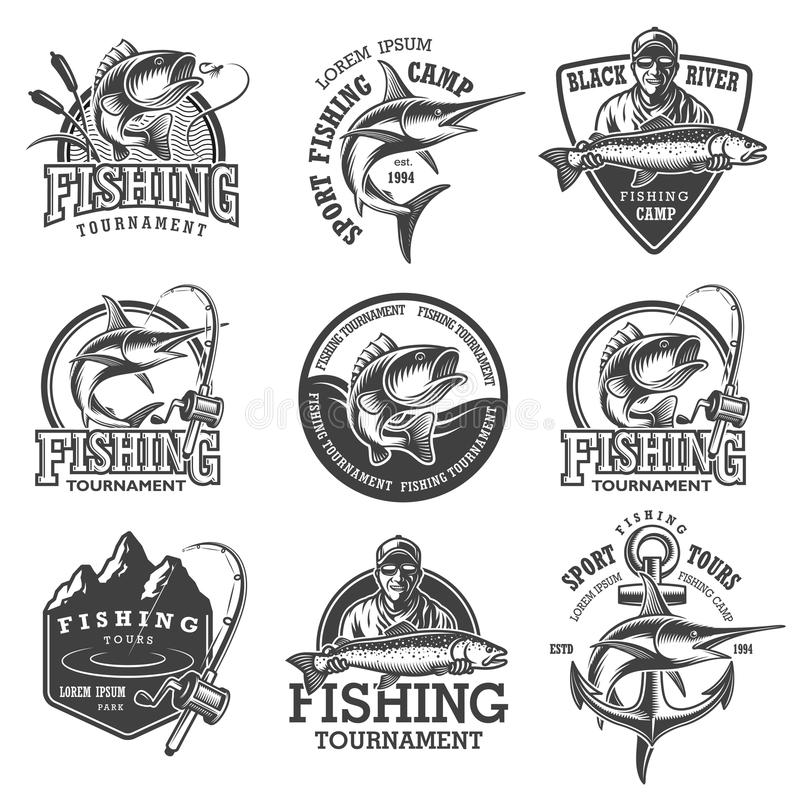 Комплект винтажных эмблем рыбной ловли иллюстрация штока