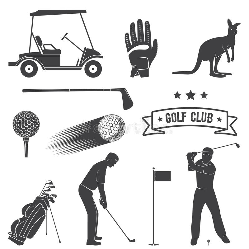 Комплект винтажных элементов и оборудования гольфа иллюстрация вектора