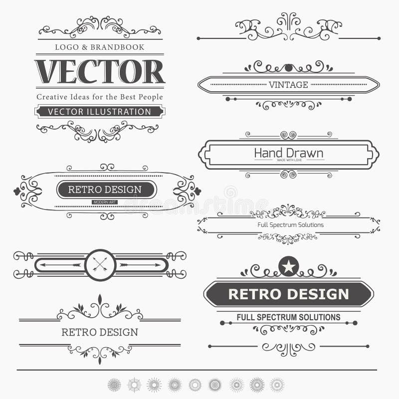Комплект винтажных элементов украшений бесплатная иллюстрация