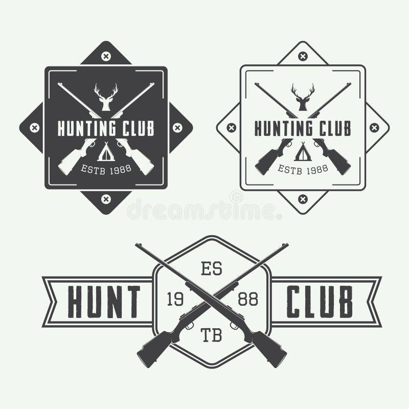 Комплект винтажных элементов ярлыков, логотипа, значка и дизайна звероловства бесплатная иллюстрация