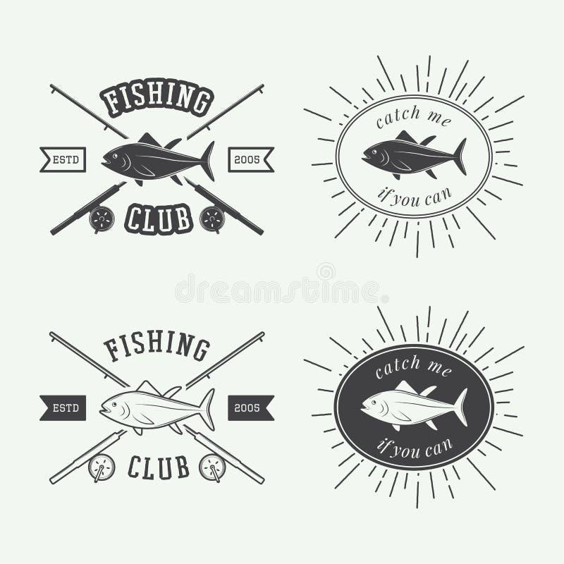 Комплект винтажных элементов ярлыков, логотипа, значка и дизайна рыбной ловли иллюстрация штока