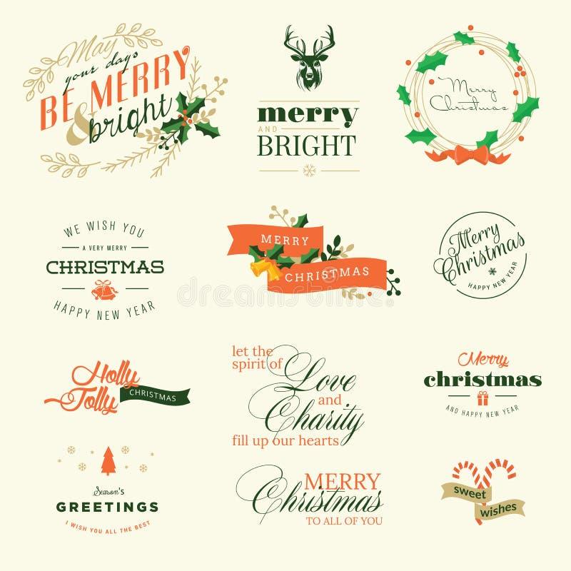 Комплект винтажных элементов для поздравительные открытки рождества и Нового Года иллюстрация вектора