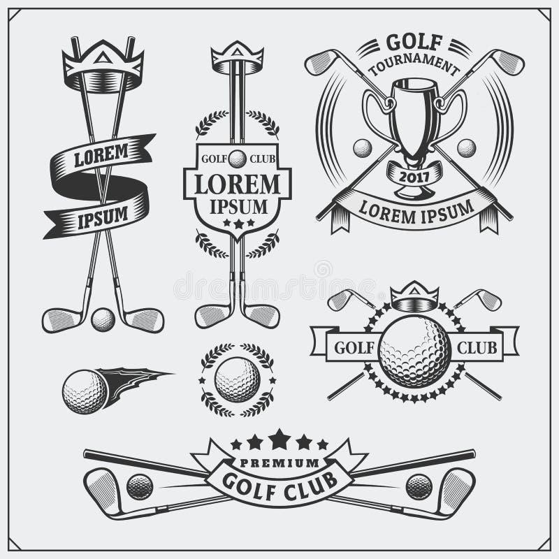 Комплект винтажных ярлыков гольфа, значков, эмблем и элементов дизайна иллюстрация вектора