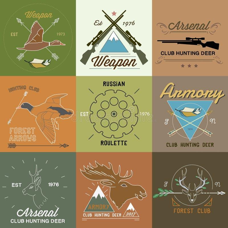 Комплект винтажных ярлыков звероловства и элементов дизайна иллюстрация вектора