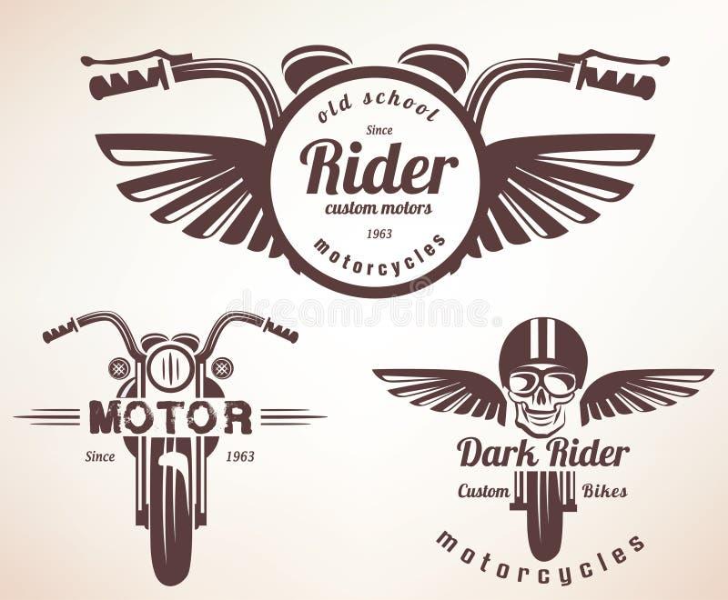 Комплект винтажных ярлыков мотоцикла, значков иллюстрация вектора