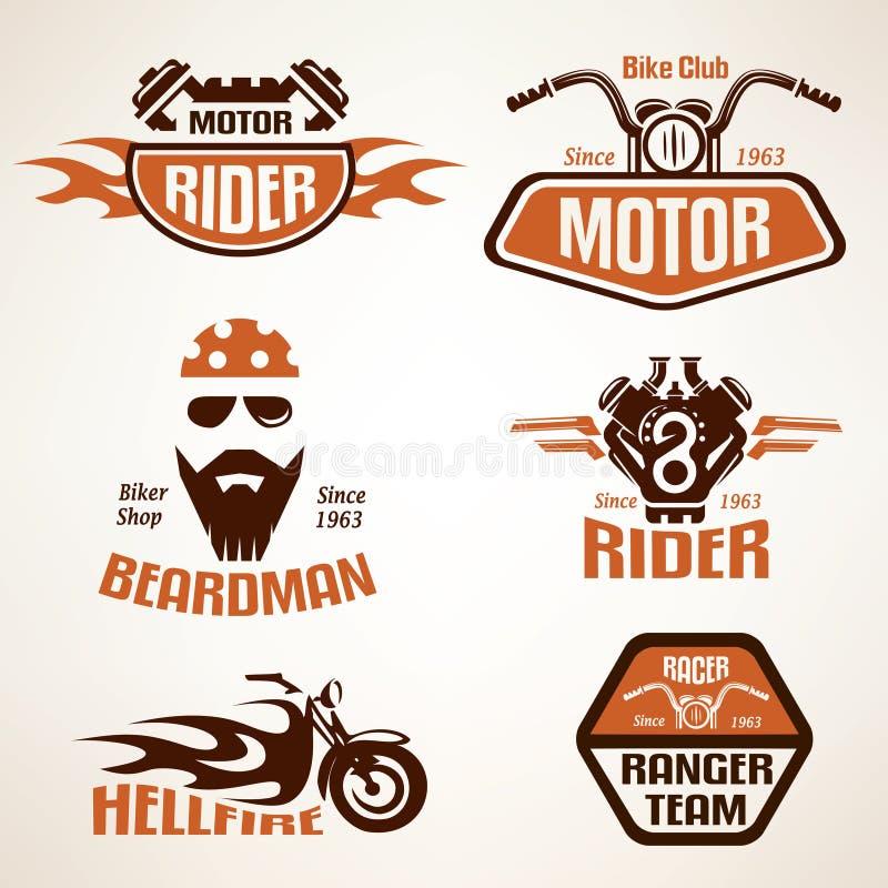 Комплект винтажных ярлыков мотоцикла иллюстрация штока