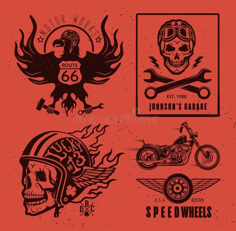 Комплект винтажных ярлыков мотоцикла иллюстрация вектора