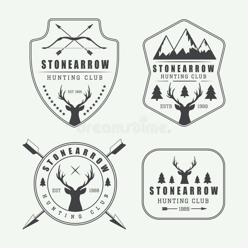 Комплект винтажных ярлыков, логотипов и значков звероловства иллюстрация вектора