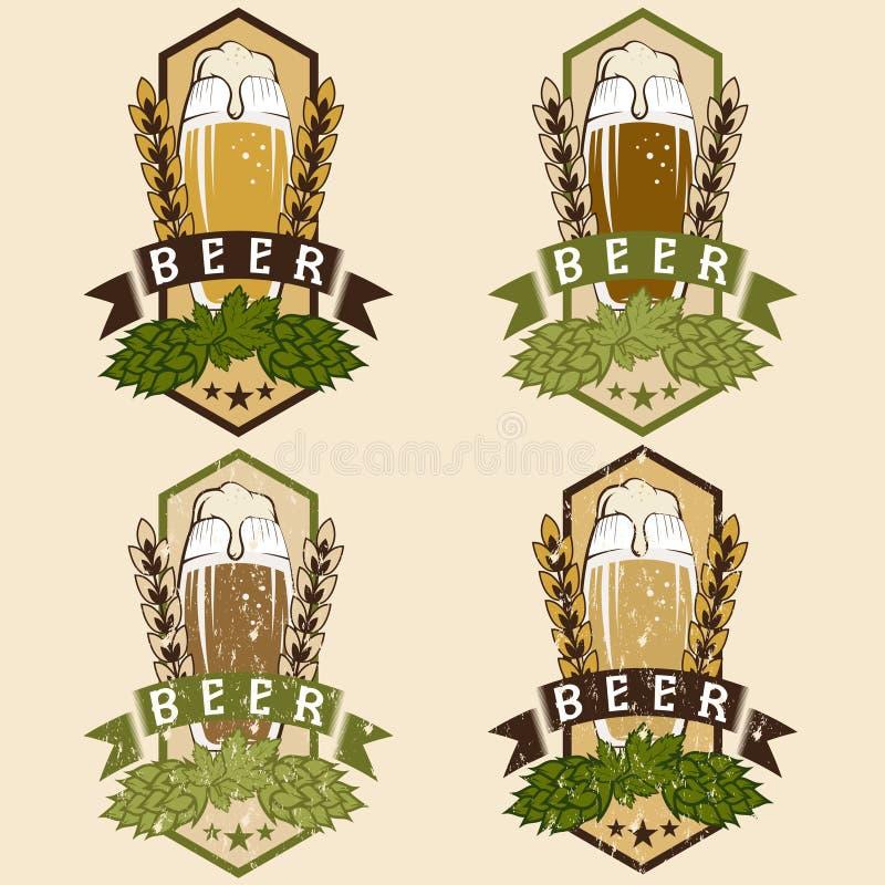Комплект винтажных ярлыков пива иллюстрация вектора