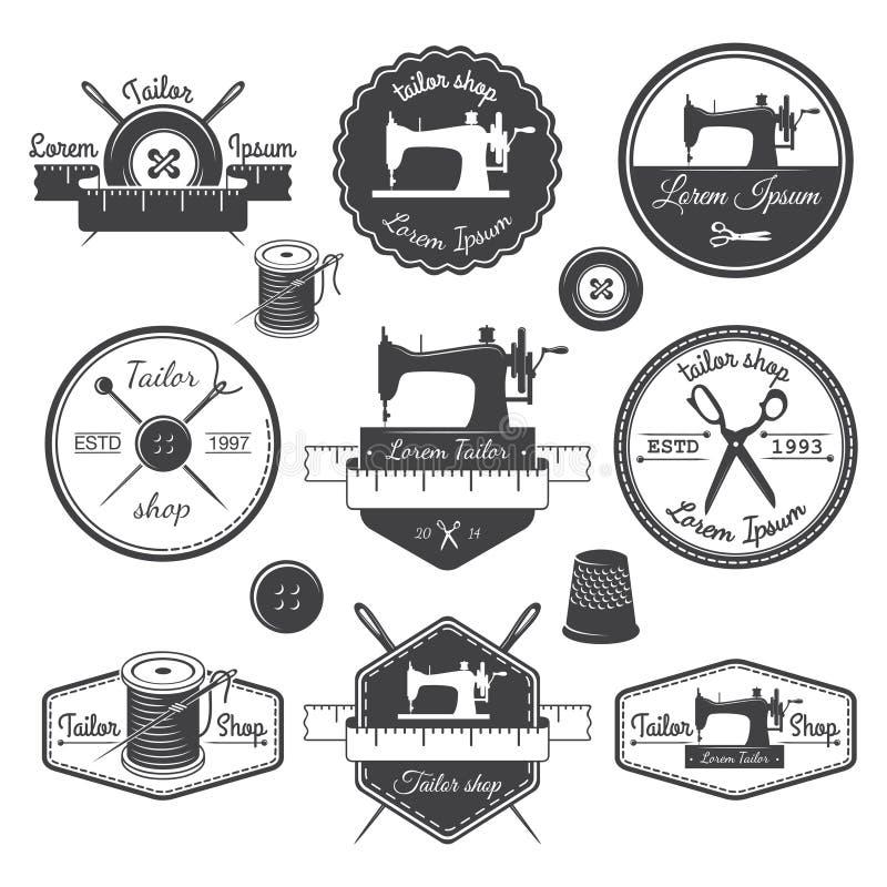 Комплект винтажных ярлыков портноя, эмблем и конструированных элементов Tai иллюстрация штока