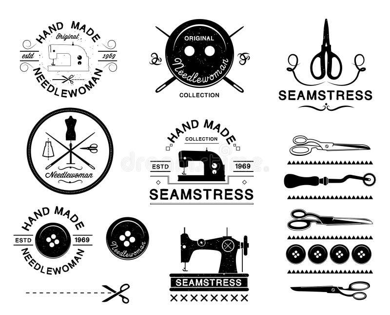 Комплект винтажных ярлыков портноя, эмблем и конструированных элементов иллюстрация штока
