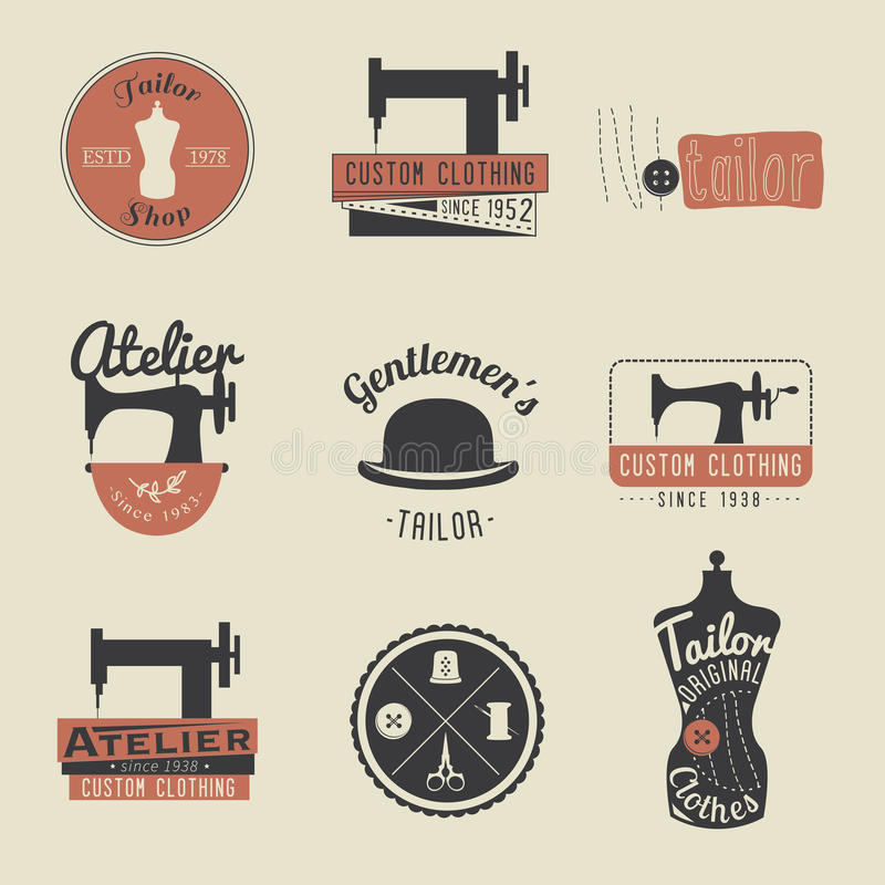 Комплект винтажных ярлыков портноя, эмблем и элементов дизайна ретро иллюстрация вектора
