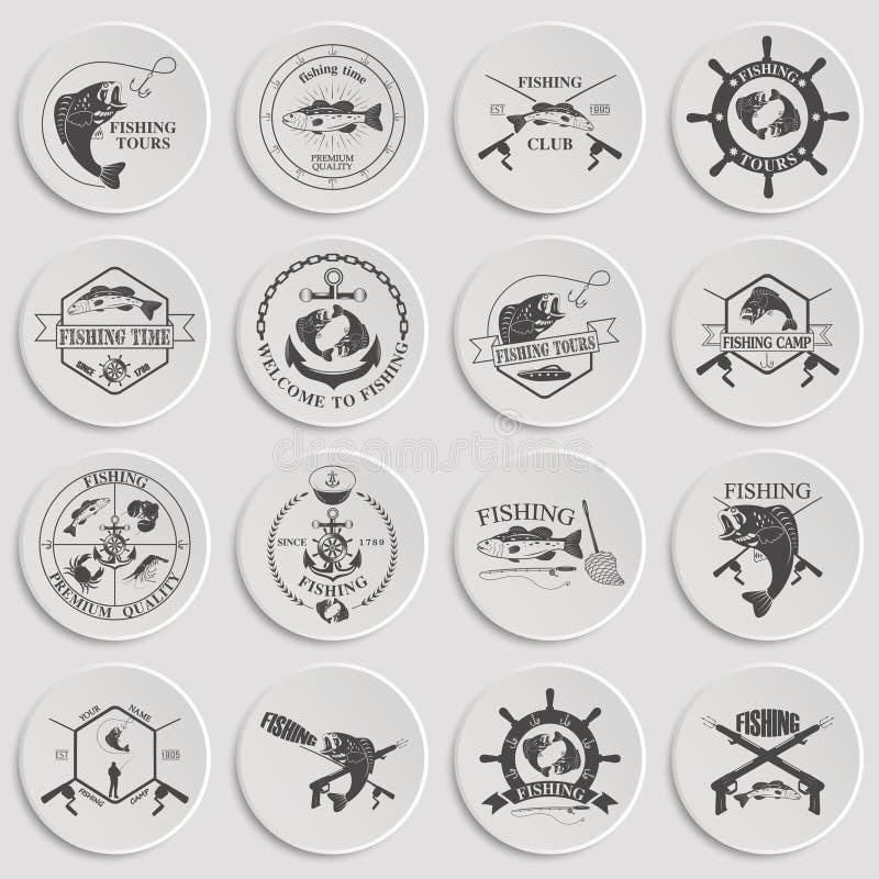 Комплект винтажных ярлыков рыбной ловли, значков и элементов дизайна иллюстрация штока