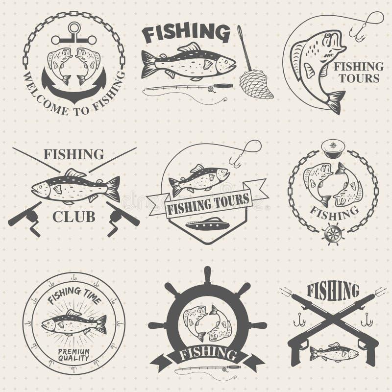 Комплект винтажных ярлыков рыбной ловли, значков бесплатная иллюстрация