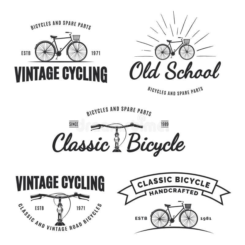 Комплект винтажных ярлыков, эмблем, значков или логотипов велосипеда дороги иллюстрация вектора