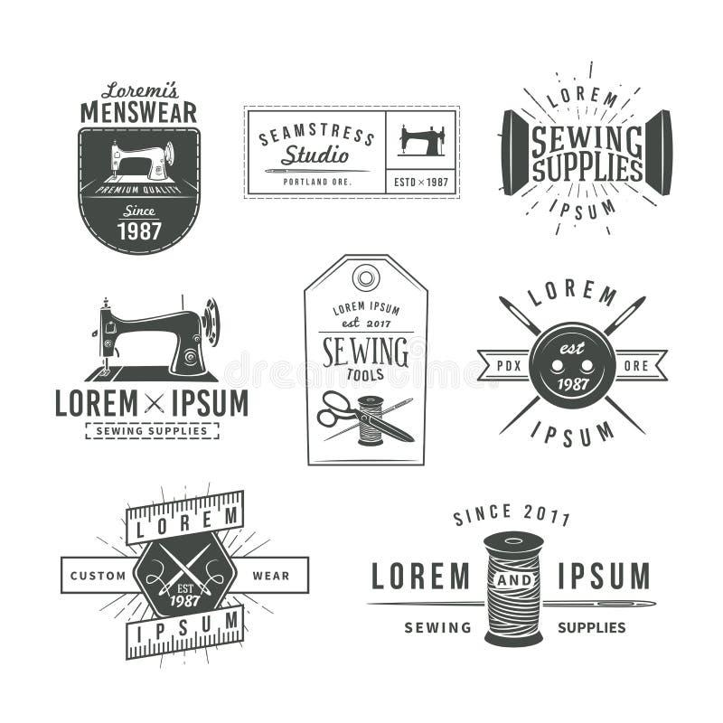 Комплект винтажных ярлыков, эмблем и дизайна портноя иллюстрация штока