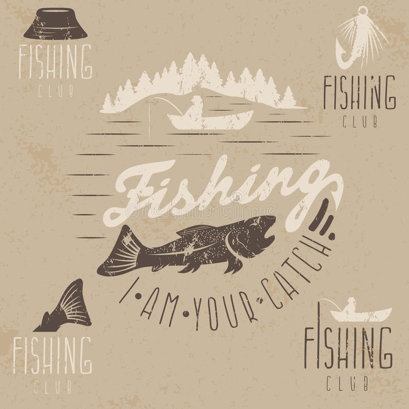 Комплект винтажных ярлыков grunge с рыбной ловлей иллюстрация вектора
