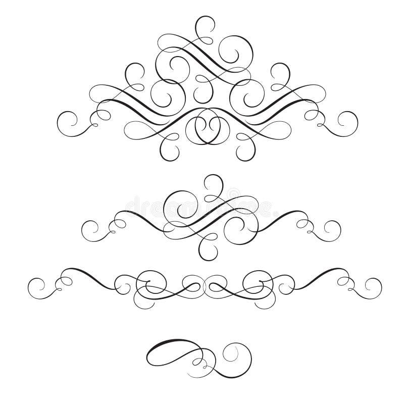 Комплект винтажных whorls каллиграфии декоративного искусства эффектной демонстрации для текста Иллюстрация EPS10 вектора иллюстрация вектора